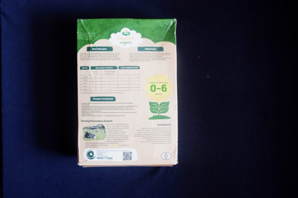 kemasan Arla puregrow organik (belakang)